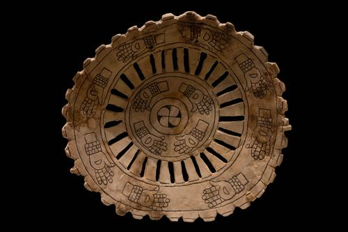 Engraved shell gorget with human hands