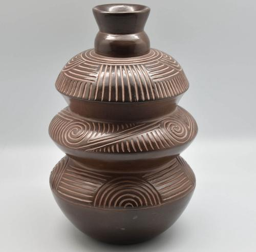 three-tier brown-ware compound bottle with incised line designs