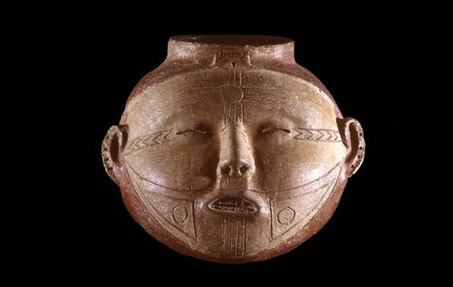 Human head effigy vessel with facial tattoos